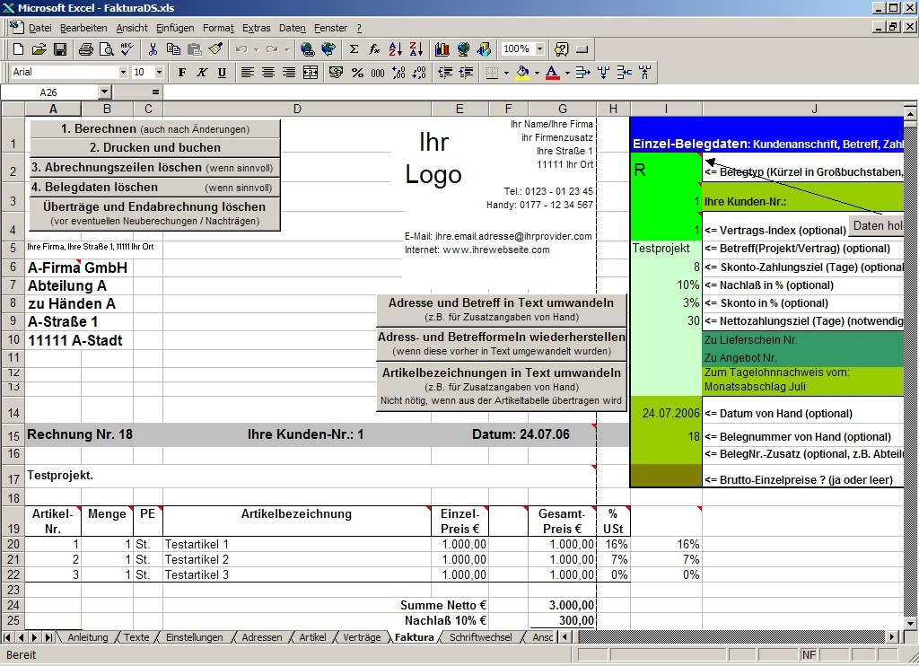 Screenshot vom Programm: FakturaDS.xls