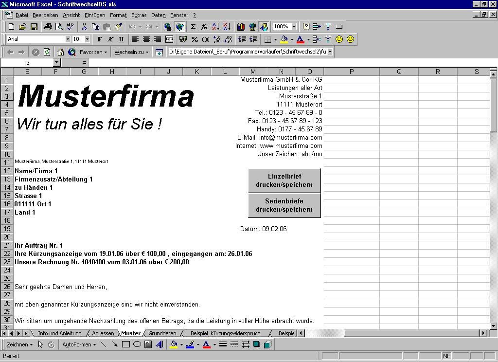 Screenshot vom Programm: SchriftwechselDS.xls